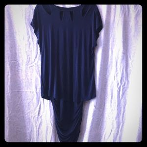 Blue short sleeved comfy dress for the office.
